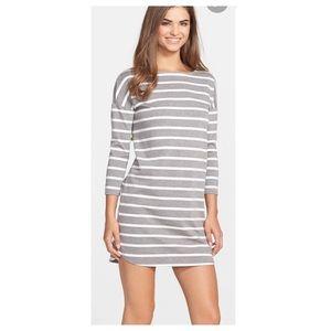 Cute grey and white striped t shirt dress Phillipa